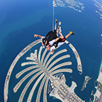 Daniel and his wife, Kayla, wanted to cross skydiving off of their bucket lists before starting a family. Here, Daniel is skydiving over the Palm Jumeirah in Dubai.