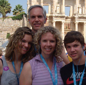 Brent and his wife, Julia, and two children, Madeline and Morgan, in Europe.
