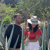 blue agave in Tequila, Mexico with wife Priscilla