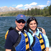 Floating down the Snake River with my husband, Alex, in the Grand Teton National Park