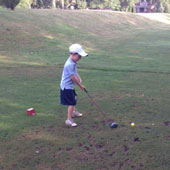 Jimmy (6) regularly plays golf with Dad