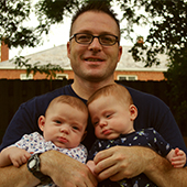 Robert with twin sons, Alasdair and Cooper, in the best backyard ever - Columbus, Ohio.