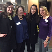 Willett (right) enjoyed visiting with friends, including Kate Juerling, Melissa Hamer-Bailey and Jen Scott, at the IndyBar Mentorship Social (November 2018).