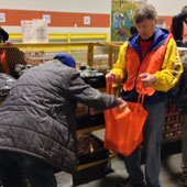 Skip serves as Chairman of the Board of Gleaners Food Bank of Indiana, and is shown here during a recent volunteer event.