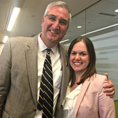 Katie with friend and Indiana Governor Eric Holcomb.
