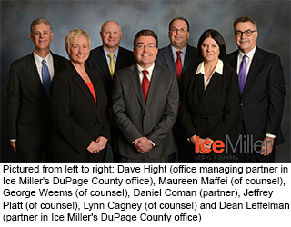 Pictured from left to right: Dave Hight (office managing partner in  Ice Miller's DuPage County office), Maureen Maffei (of counsel),  George Weems (of counsel), Daniel Coman (partner), Jeffrey  Platt (of counsel), Lynn Cagney (of counsel) and Dean Leffelman  (partner in Ice Miller's DuPage County office)